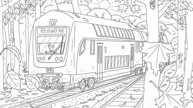 Ausmalbild Im Herbst Olis Bahnwelt