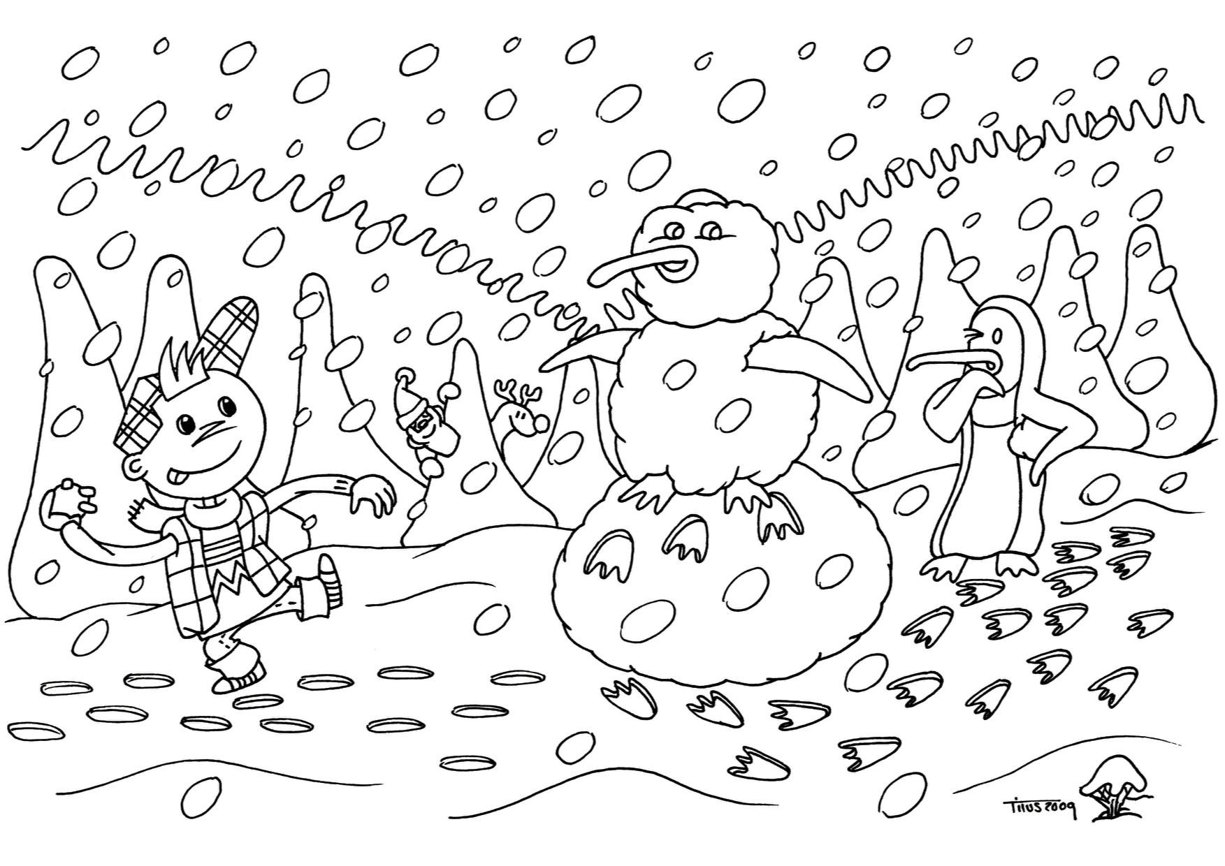 Winterliche Ausmalbilder und Bastelvorlagen | Olis Bahnwelt