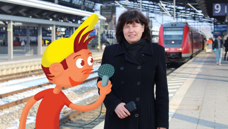 Bahnhofsmanagerin; Bild: DB AG/ Kolja Kärcher, Titus Ackermann (Grafik)