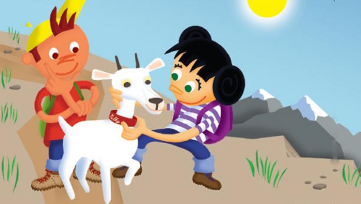 Oli und Kaori treffen die Ziege Milky, Bild: Carlsen Verlag, Titus Ackermann