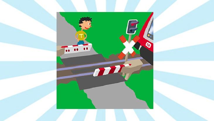 Bahn-Memo-Karte Vorsicht an Bahnübergängen; Bild: DB AG / Titus Ackermann