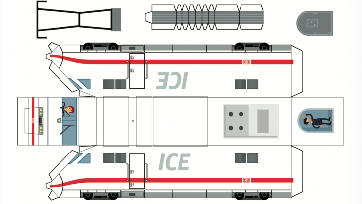 Bastelbogen ICE 1; Bild: DB AG / Grafik: Titus Ackermann