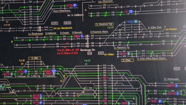 So sieht ein Streckenspiegel am Monitor aus. Er zeigt, wo die Züge gerade sind.