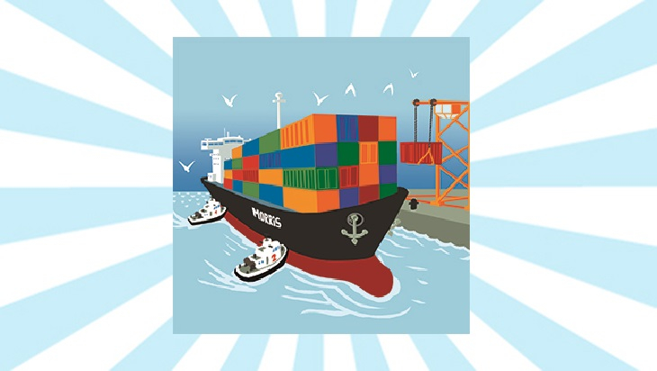 Bahn-Memo-Karte Containerschiff; Bild: DB AG / Titus Ackermann