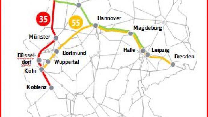 Die Karte zeigt die drei Linien, auf denen die ersten IC2-Züge fahren;Bild: DB