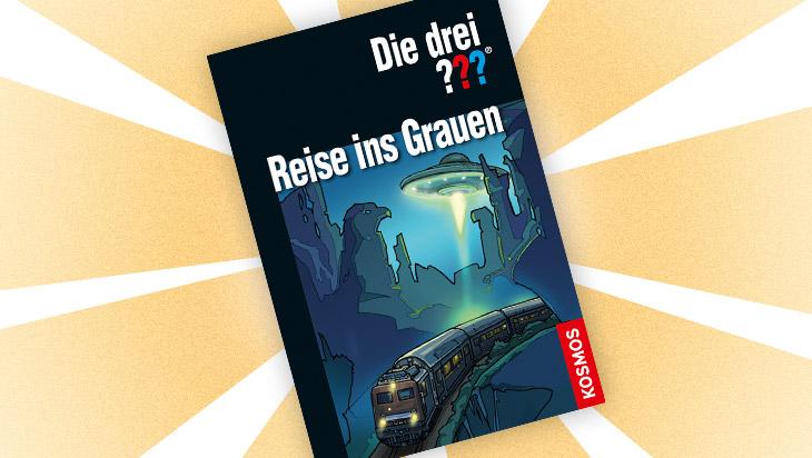 """Kinderbuch """"Die drei ??? und die Reise ins Grauen"""" / Cover: Kosmos Verlag"""