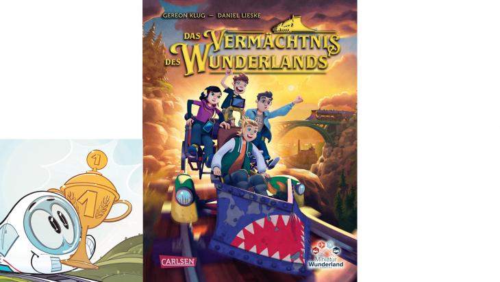 """Buch """"Das Vermächtnis des Wunderlands""""; Bild: Miniatur Wunderland / Carlsen, Grafik ICE: Sascha Wüstefeld"""