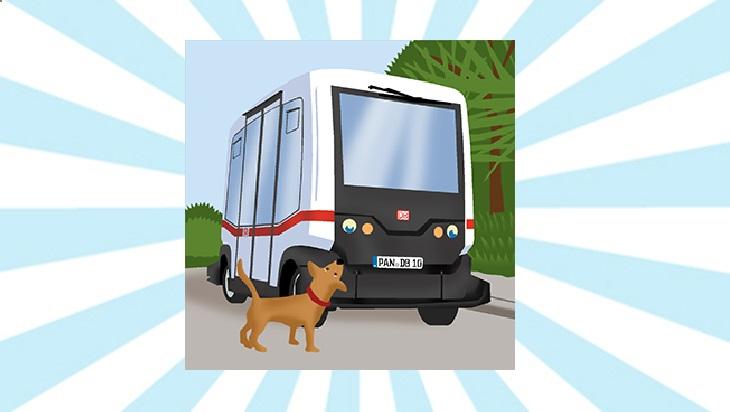 Bahn-Memo-Karten Autonom fahrender Bus; Bild: DB AG/ Titus Ackermann