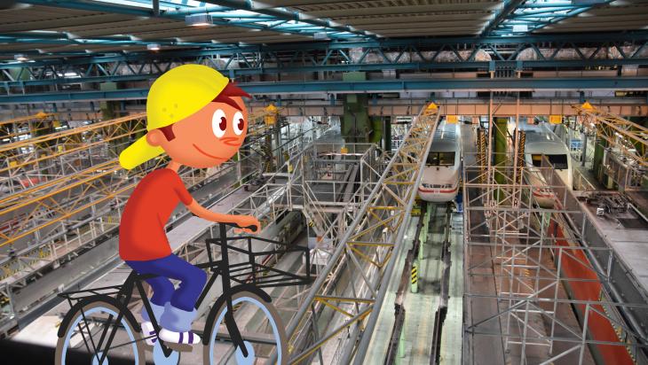 Oli mit dem Fahrrad im ICE-Werk Eidelstedt; Foto Andreas Sahlmann, Grafik: Titus