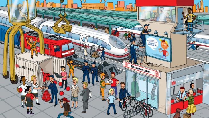 Finde die Bahnberufe; Grafik: Titus Ackermann