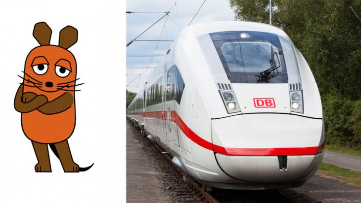 """Die """"Sendung mit der Maus"""" entdeckt den ICE 4 / Bild: SIEMENS, Grafik: WDR Trickstudio Lutterbeck"""