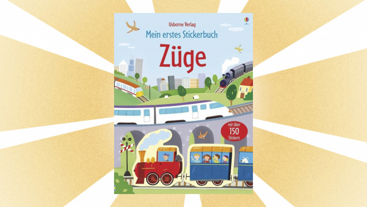 """Kinderbuch """"Mein erstes Stickerbuch Züge"""" / Cover: Usborne Verlag"""