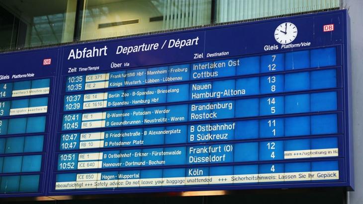 Abfahrtstafel am Berliner Hauptbahnhof © DB AG