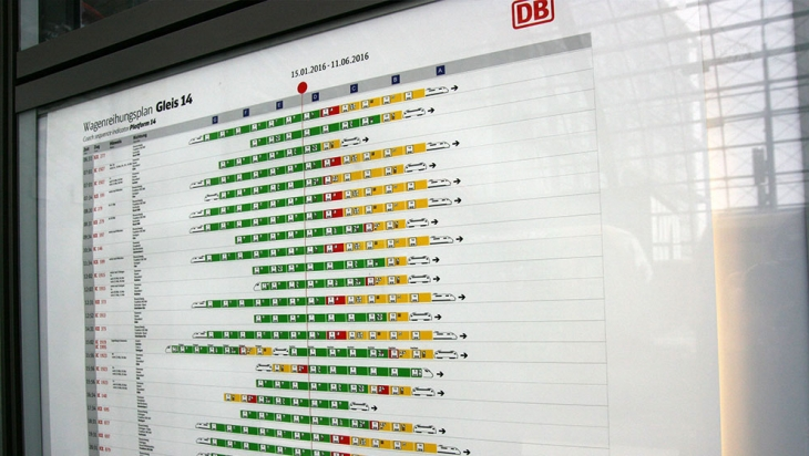 Wagenreihungsplan am Berliner Hauptbahnhof © DB AG