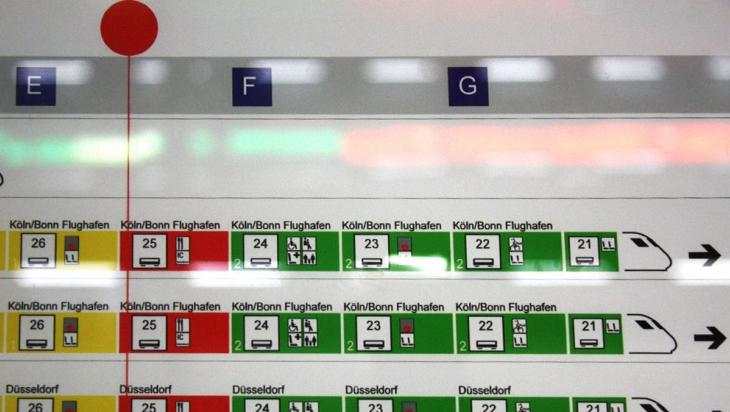 Detail vom Wagenreihungsplan mit dem roten Standort-Punkt © DB AG