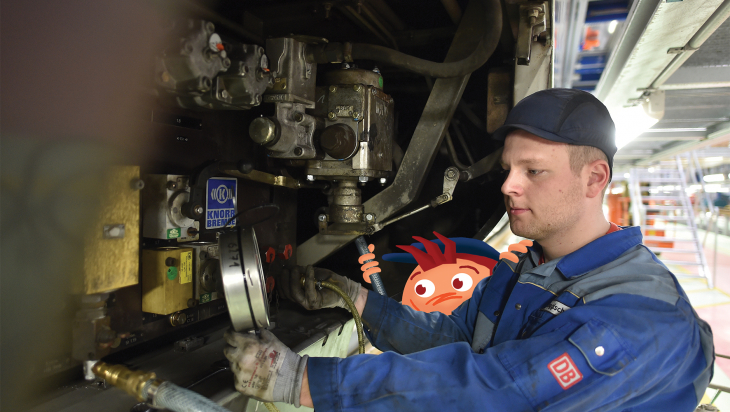 Mechaniker; Foto: DB AG / Oliver Lang; Grafik: Titus Ackermann