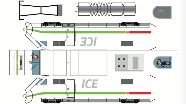 Bastelbogen ICE 1 grün; Bild: DB AG / Grafik: Titus Ackermann