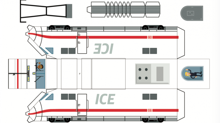 Bastelbogen ICE 2; Bild: DB AG / Grafik: Titus Ackermann
