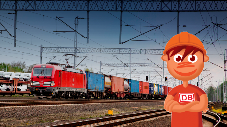 Güterverkehr bei der Bahn; Bild: Bartolomeij Banaszak, Grafik Titus Ackermann