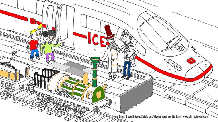 Opa Adler und der ICE; Bild: DB AG / Grafik: Titus Ackemann