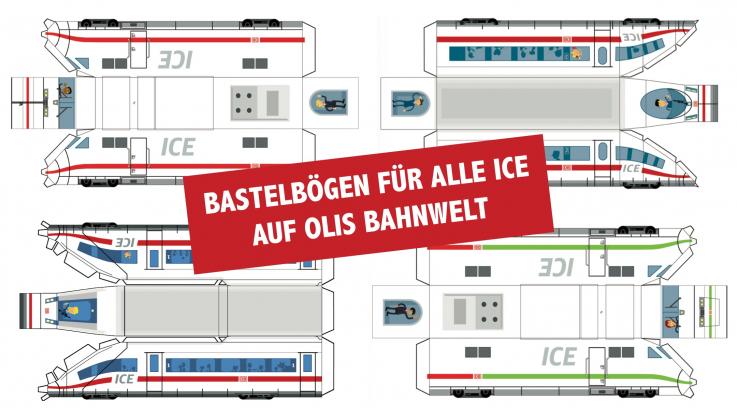 Bastelbögen zu allen ICE; Bild: DB AG / Grafik: TItus Ackermann