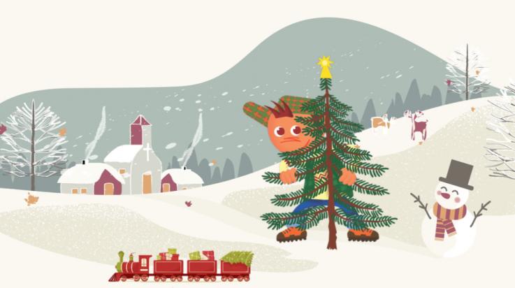 Weihnachtsgewinnspiel; Bild: Shutterstock (Mama Belle and the kids, Ekaterina Volynshchikova) / Oli-Grafik: Titus Ackermann;