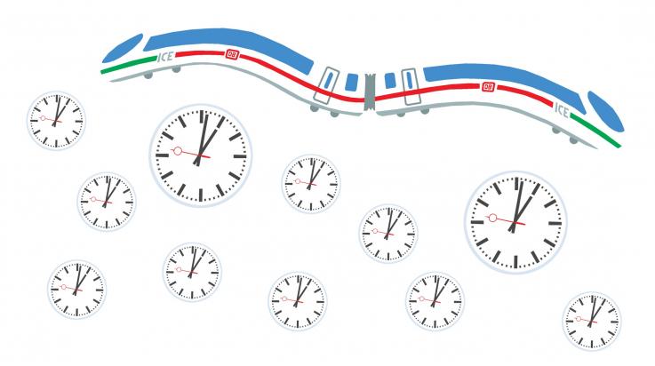 Uhren bei der Deutschen Bahn; Bild: DB AG / Grafik: Titus Ackermann