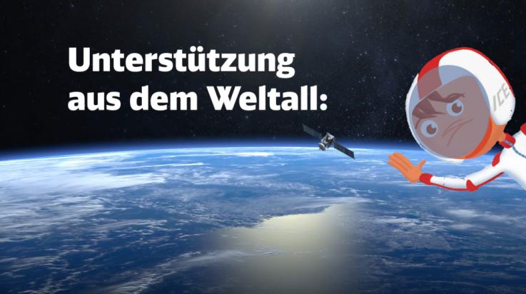 Unterstützung aus dem Weltall; Bild: DB AG / Mathias Dreßler / Grafik: Titus Ackermann
