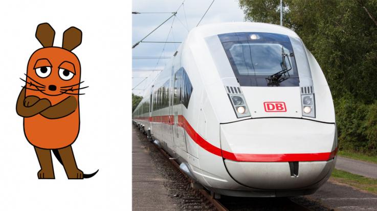 Die Sendung mit der Maus entdeckt den ICE 4; Bild: SIEMENS, Grafik: WDR Tonstudio Lutterbeck