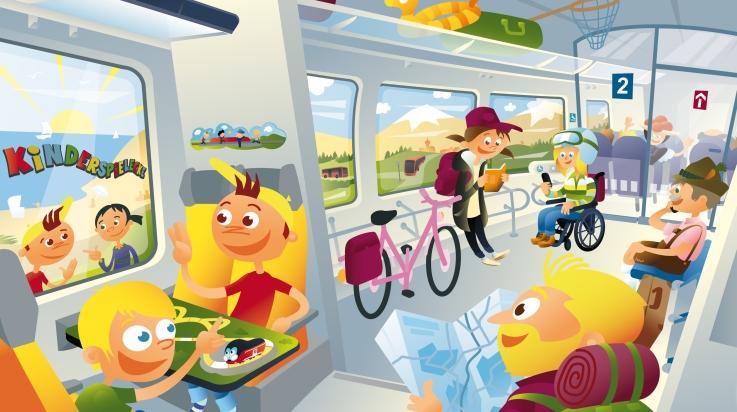 Oli fährt mit dem Regionalzug; Bild: DB AG / Thomas Gronle