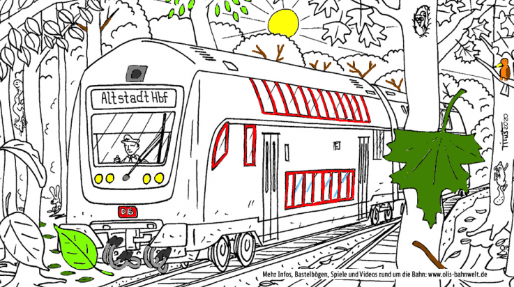 Ausmalbild Regionalbahn im Herbst; Bild: DB/Titus Ackermann